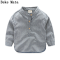 Striped Baby Boy Shirts 2016 Autumn Fashion Long Sleeve Boys Shirt Kids Mandarin Collar Toddler Boy