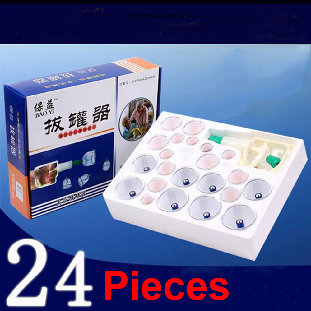 FRESHING 24 pcs Vacuum magnetic therapy tanks Medical Chinese Vacuum 24 Body Cupping Cups Healthy Kit Therapy Massage Portable(China (Mainland))