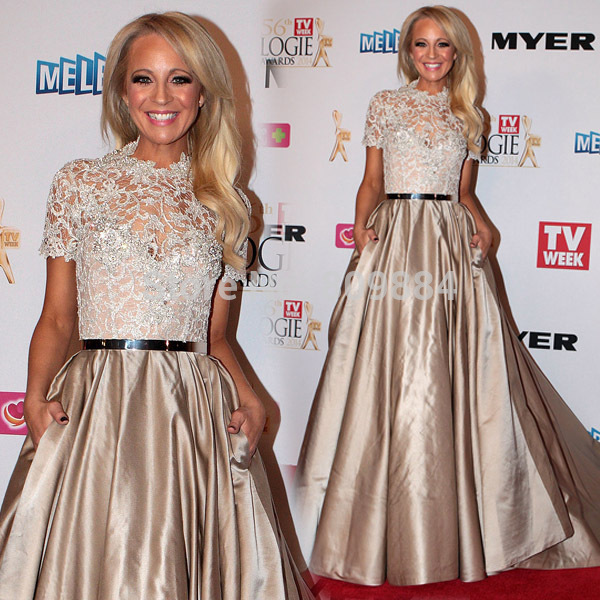 Carrie Bickmore Line High Neck Lace Beaded Short Sleeves Pockets Floor Length Celebrity Dresses - Lilytown's Wedding Store store
