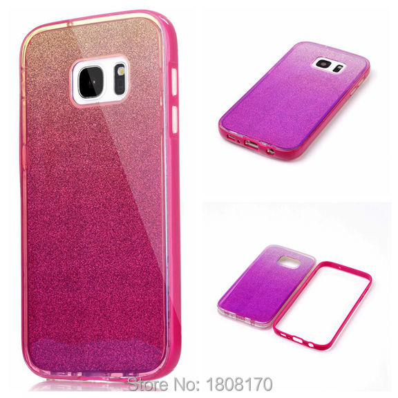 Blue Ray Bling Glitter TPU Case For Samsung Galaxy S7 Edge J2 J5 J7 J710 PC Hybrid Shiny Sticker Mirror Cell Phone Cover 10pcs(China (Mainland))