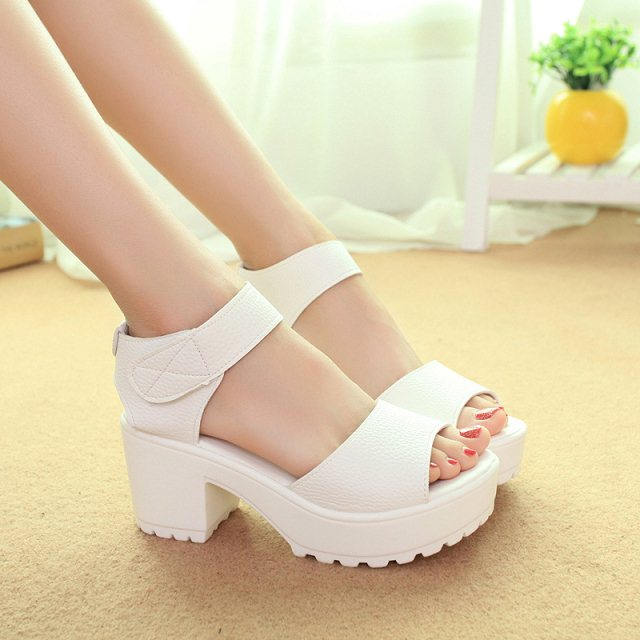 Summer fashion high-heeled shoes women's thick heel open toe platform platform open toe velcro sandals(China (Mainland))