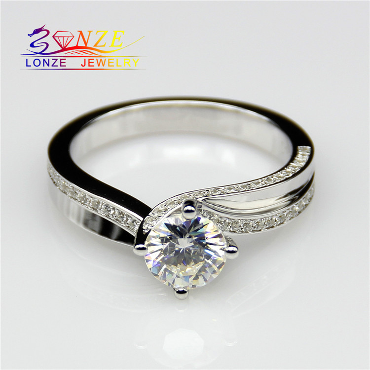 Center 2 Carat Diamond Double Shanks Engagement Ring ASCD Synthetic Diamond Ring Fine Jewelry 925 Sterling Silver Wedding Rings<br><br>Aliexpress