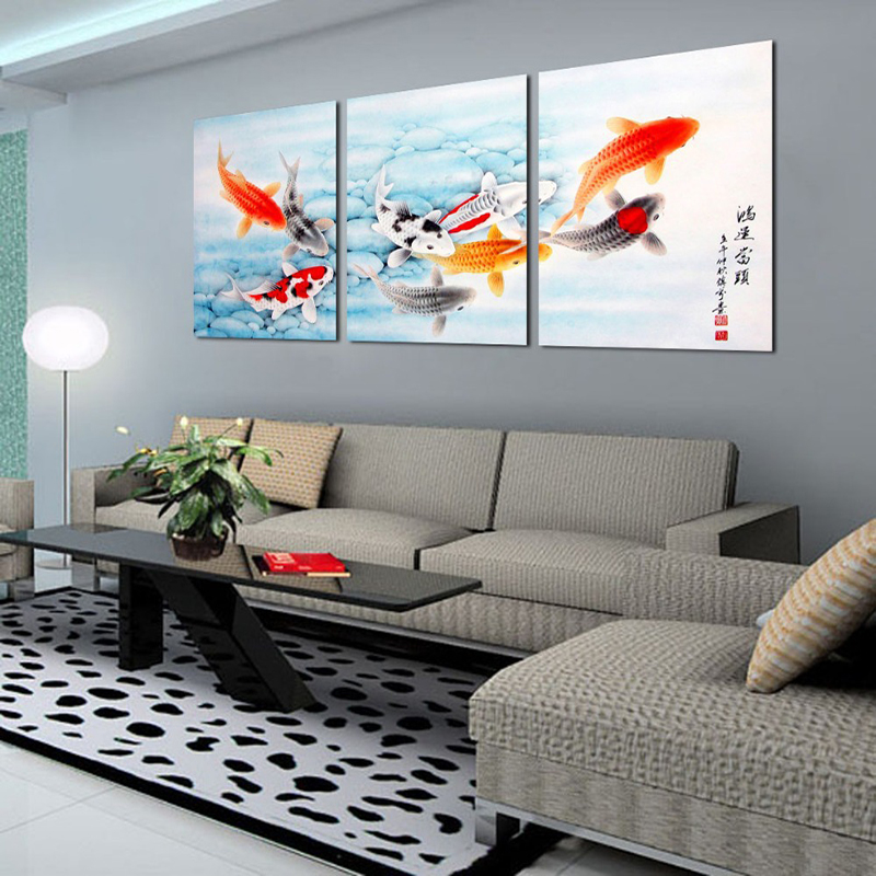3 piece koi fish wall art chinese painting wall art on for House decoration pieces