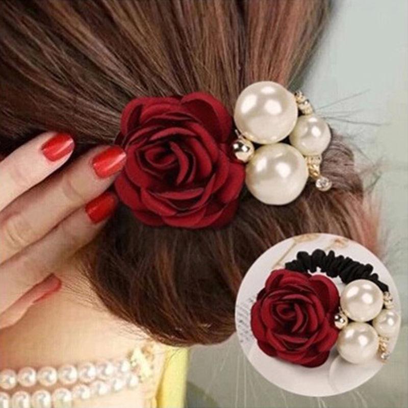 New Fashion Pearl Flower Hair Bands for Women Girls Satin Big Rose Three Pearls Decor Elastic Hairbands Ponytail Headband(China (Mainland))
