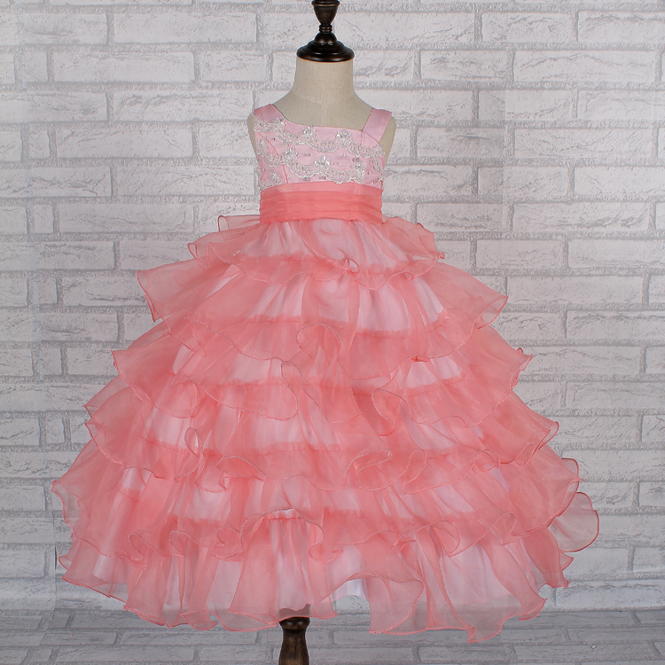 Free shipping hot sale one shoulder child party dress 2015 new organza ball gown for kids peach flower girl dresses factory 0507(China (Mainland))
