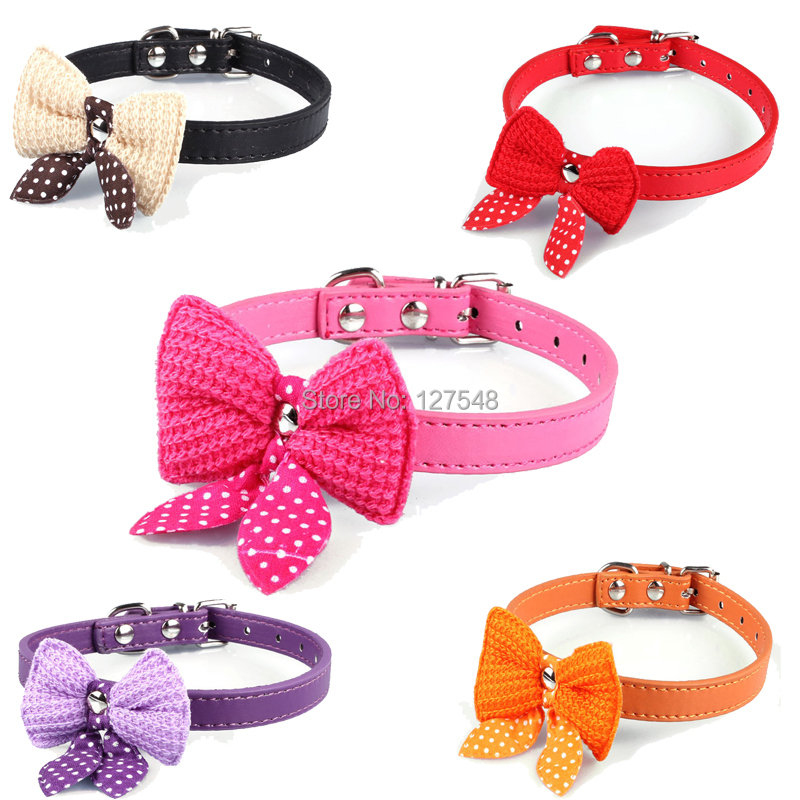Knit Bowknot Adjustable Leather Dog Puppy Pet Collars Necklace,Collars For Dogs,Cat collar perro,Size XS S M(China (Mainland))