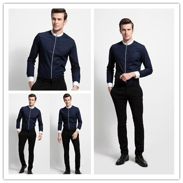 Men s navy blue mandarin collar modern shirts for party wear in dress