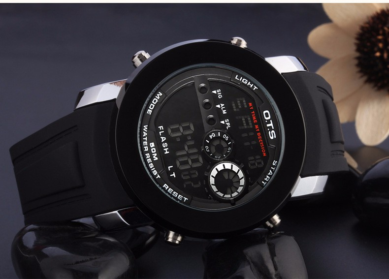Brand OTS Original Quartz-Watch LED Digital Watch Men Sports Waterproof Fashion Watches Relogio Masculino