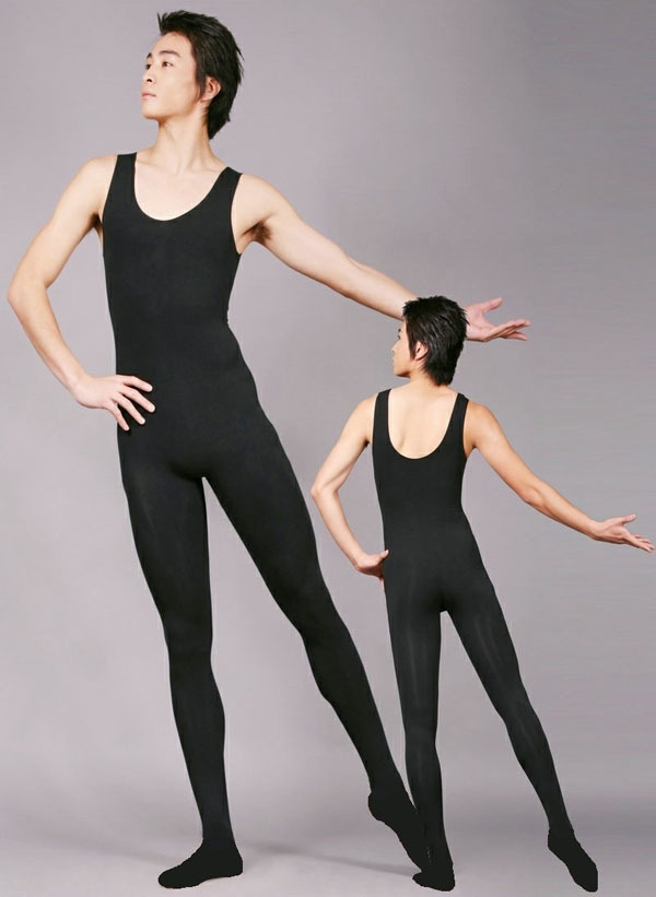 Fashion Great Elasticity Man Ballet Coverall,Men Black Ballet Dance Leotard Vest Connect Stocking Leggings Long Pantyhose(China (Mainland))