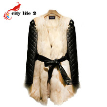 Women Long Faux Fox Fur Coat 2015 Winter Hot Sale Plus Size 3XL PU Long-Sleeve Overcoats High Quality Beige Warm Fur Jacket(China (Mainland))