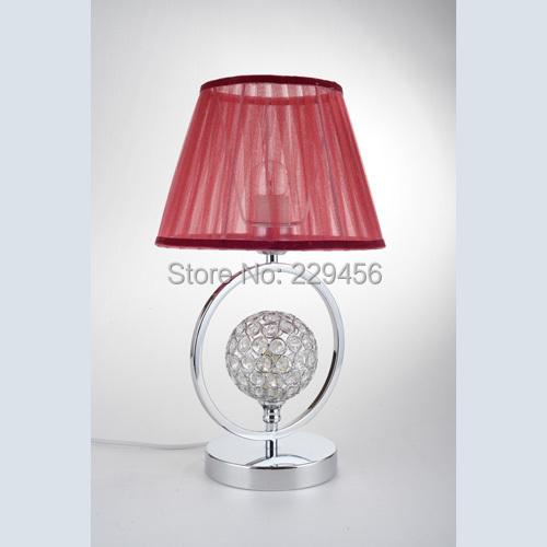 Modern LED Table Lamp Crystal&Fabric Lampshade Bedside Decor Luminaria de Mesa E27 110-240V(China (Mainland))