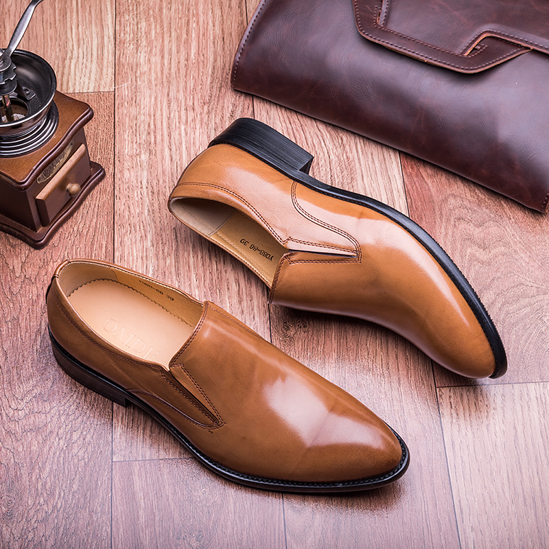 2016 Mens British italy Fashioin Pointed Toe Patent Genuine Leather Slip-on oxfords Business Formal Dress Shoes Black-brown(China (Mainland))