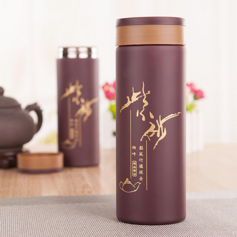 Ceramic Themal Water Bottle Boccaro Cup Natural Purple-grit Clay Water Bottle Good for Health Free Shipping(China (Mainland))