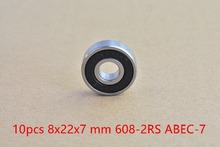 10pcs 608-2RS 608RS 608 2RS ABEC-7 8mm x 22mm x7mm black double rubber sealing cover deep groove ball bearing #82-10(China (Mainland))