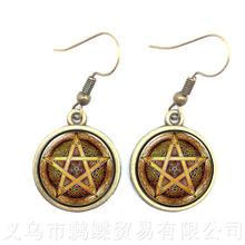 ซาตาน Baphomet Pentagram Drop ต่างหู Gothic จี้ Satanism Evil ลึกลับ(China)