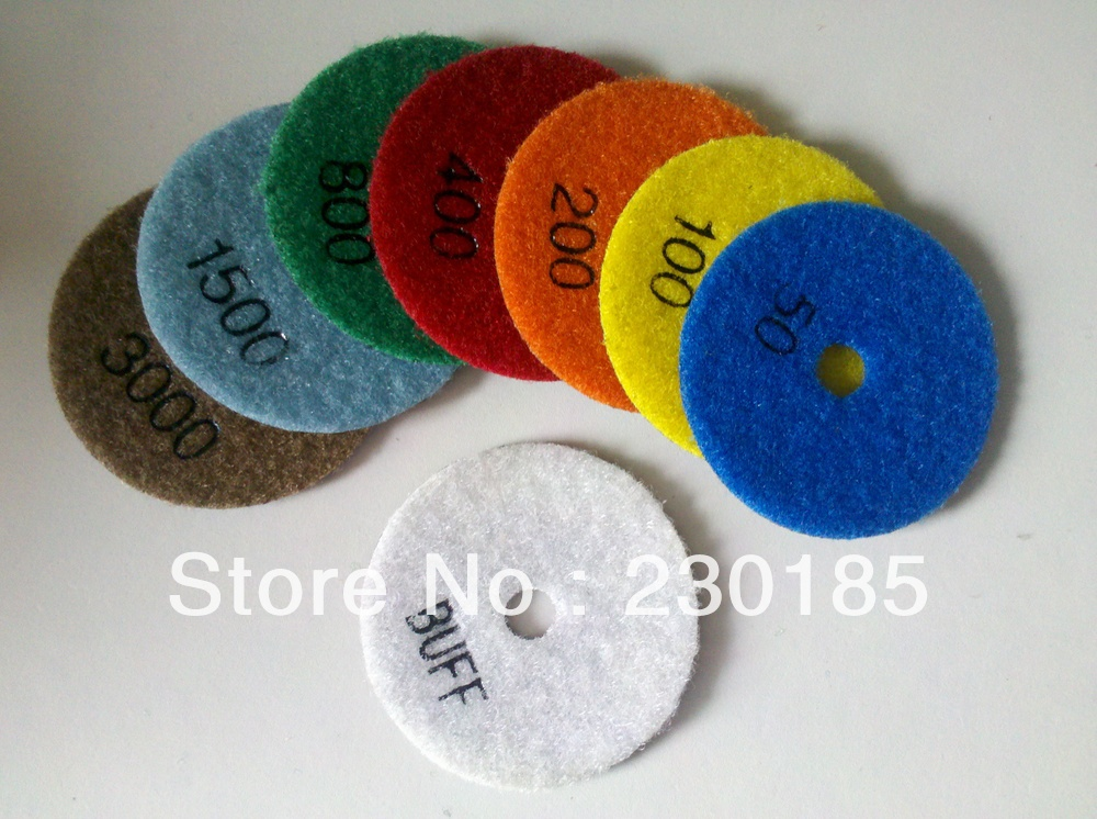 One Set( 8 pieces one grit) 3 inch/80mm Diamond Flexible Dry Polishing Pads - New Zuan Tools Co., Ltd. store