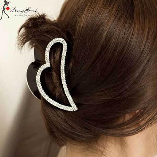 BearPoint Peach Heart Rhinestone Crystal Claw Hair Clip(China (Mainland))