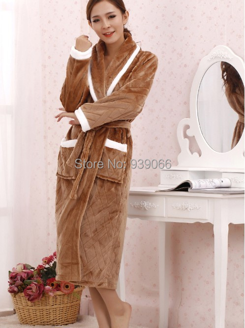 Original thickened flannel Brand Bathrobes Women Robe Long Night Gowns Brown Lovers Sleepwear Size S-2XL, - YiZhe Trade Co.,Ltd store