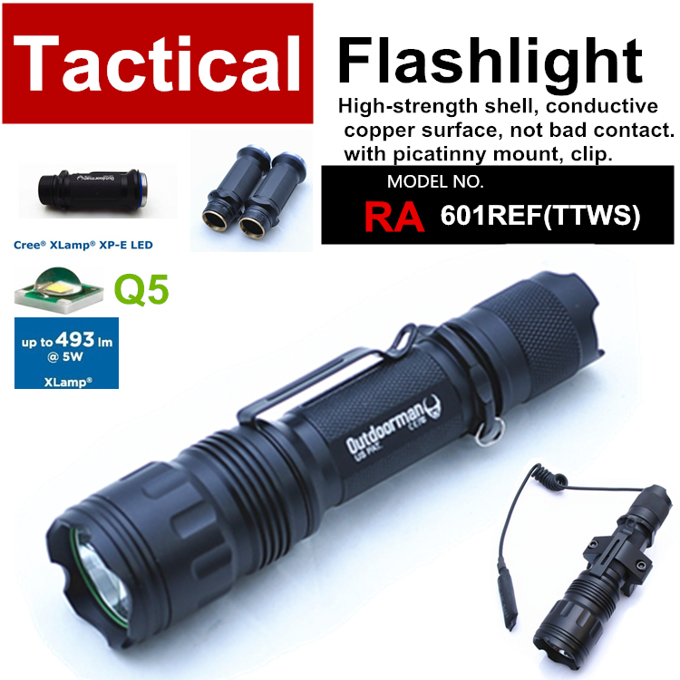 RA-601REF[TTWS] CREE Q5 custom mode torch Tactical Flashlight power by 18650,with Rail Mount,Tail-wire Pressure Switch(China (Mainland))