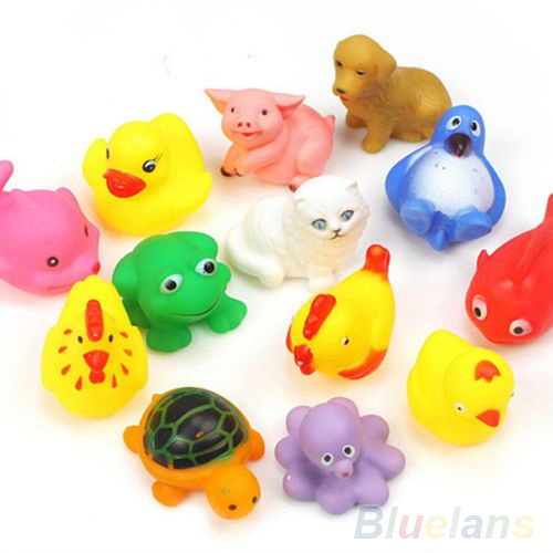 13Pcs Cute Soft Rubber Float Sqeeze Sound Baby Wash Bath Toys Play Animals Toys 2KAH(China (Mainland))