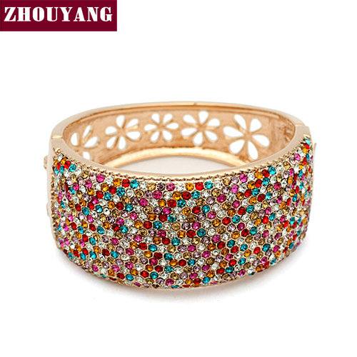 ZYB010 Multicolour Big Star Love Rose Gold Plated Bangle Jewelry Made with Genuine SWA Elements Austrian Crystals Wholesale