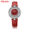 France Gladster Fashion Watch Women Quartz Watch Women Analog Wristwatches Crystal Clock Women Leather Strap Watch