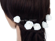 6PCS Xmas Gift Small Rose Flower Hair Pins Wedding Bridal Flowers Accessory Bridesmaids Clips