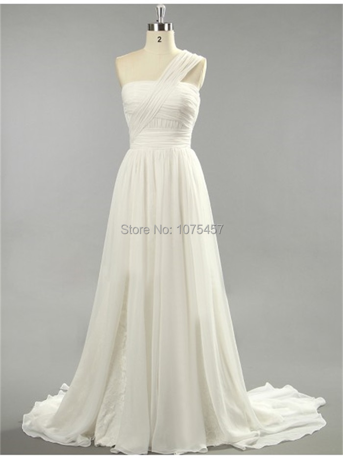 Latest design real picture beach wedding dress 2015 one for One shoulder beach wedding dress