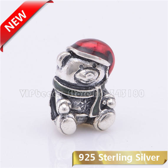 925 Sterling Silver Teddy Bear Christmas beads Red /Green Enamel Charm Beads Fit European Style Bracelets & Necklaces CB417 - VIPbeads store