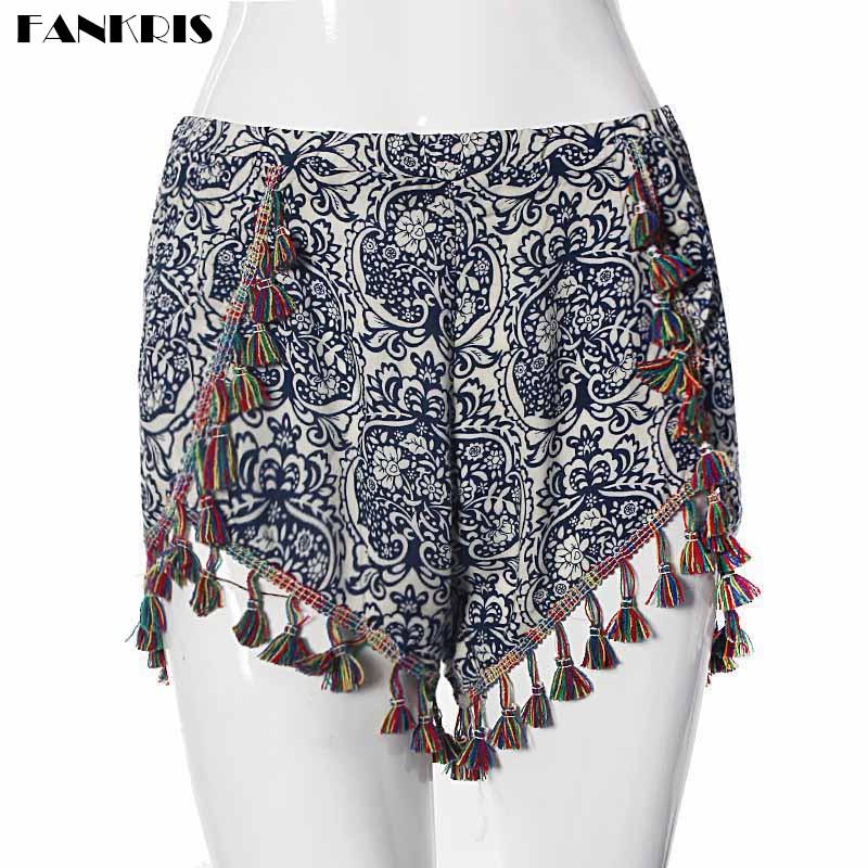 Fankris Women Casual Summer Shorts Floral Board High Waist Shorts Beach Loose Short Pants Pantalones Cortos Mujer Cintura Alta