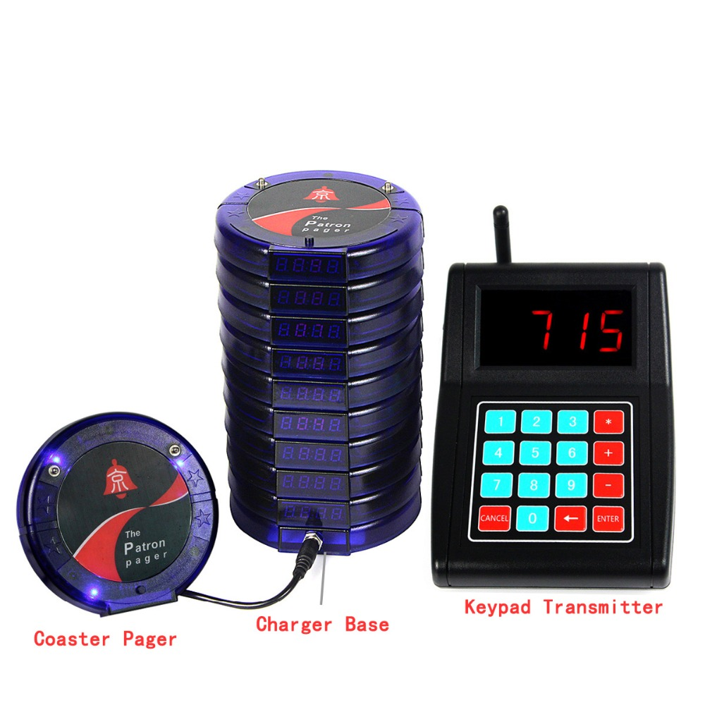 10 Digital Blue Restaurant Coaster Pagers Guest Wireless Paging Queuing Completing System F3197L(China (Mainland))