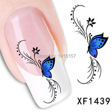 Min.order is $10 (mix order) Water Transfer Nail Art Stickers Decal Beauty Sexy Blue Butterfly Flowers Design Manicure Tool
