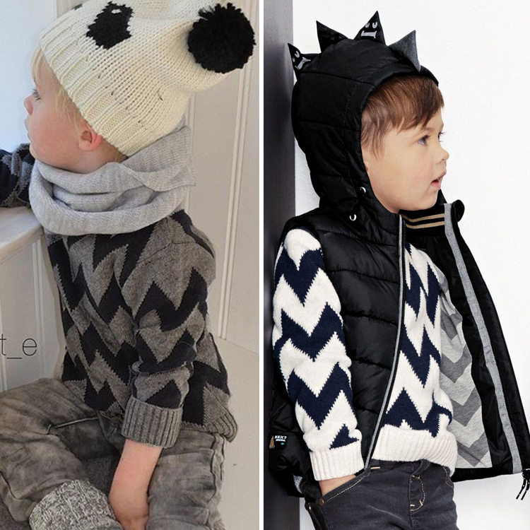 2016 Hot Bobo Choses Autumn Winter Boys Clothes Long Sleeve Knitting Patterns Geometric Chevron Toddler Boys Pullover Sweaters(China (Mainland))
