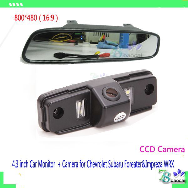 "2in1 Car parking assistance system 4.3"" mirror monitor and HD car parking camera rear view back CCD camera for Chevrolet Subaru(China (Mainland))"