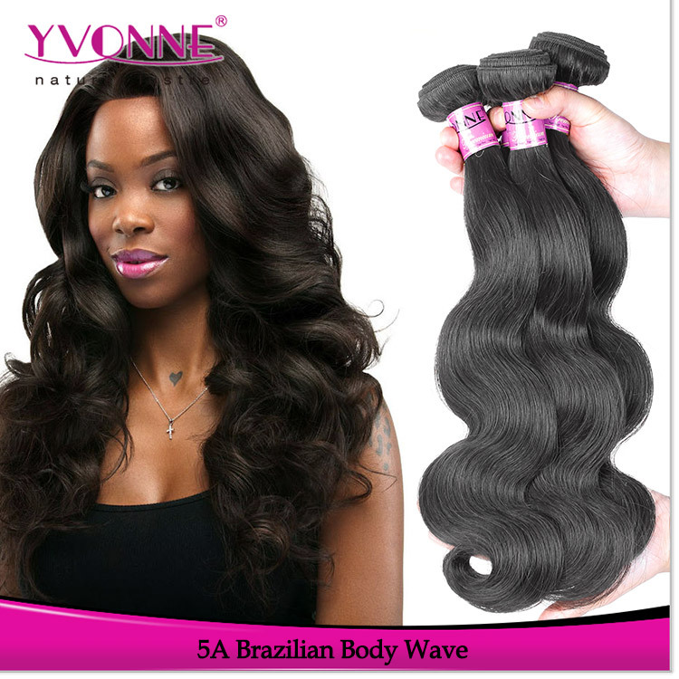 Grade 5A Unprocessed Brazilian Virgin Hair Body Wave,3Pcs/Lot Remy Human Hair Extension,8~28 Inches Aliexpress Yvonne Hair(China (Mainland))