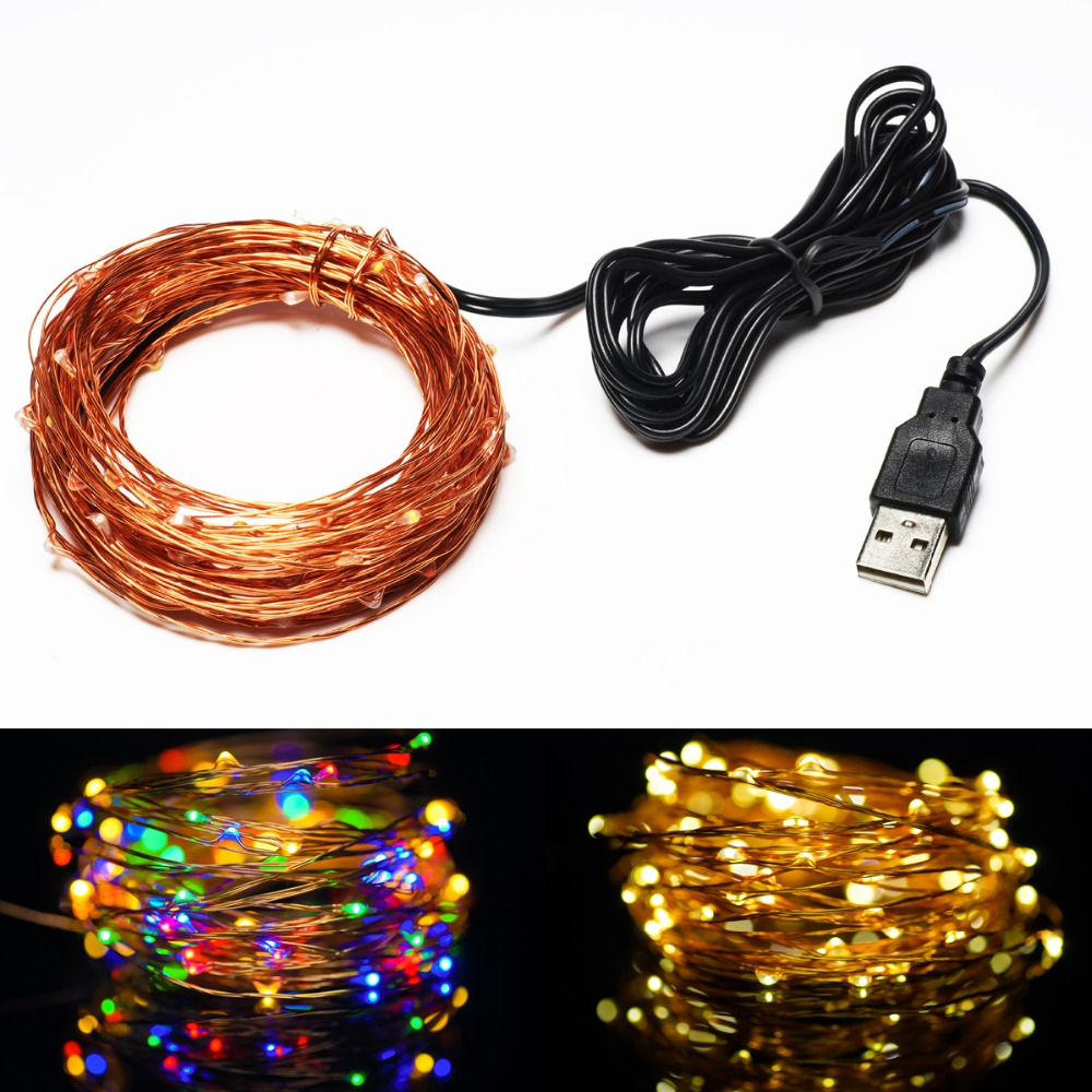 5V USB Operated 33FT 10Meters100led Christmas Holiday Wedding Party Decoration Festival LED Copper Wire String Fairy Light Lamp(China (Mainland))
