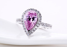 Excellent vintage jewelry genuine 18K white gold pear shaped ring Royal 2CT NSCD synthetic ruby engagement