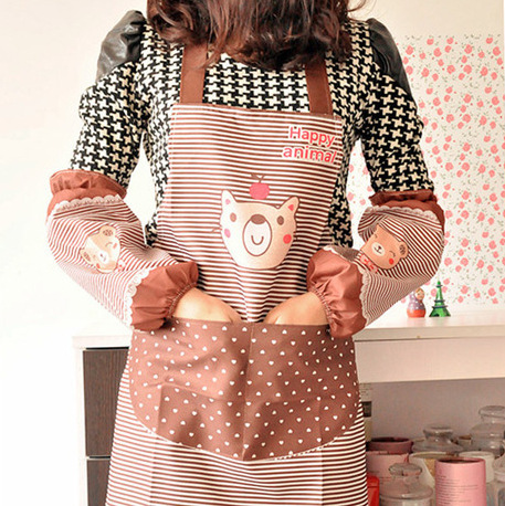 2015 Rushed Cordao Feminino Direct Manufacturers A176 Cartoon Bear Sleeve Of High Quality Waterproof Apron Cover Assurance(China (Mainland))