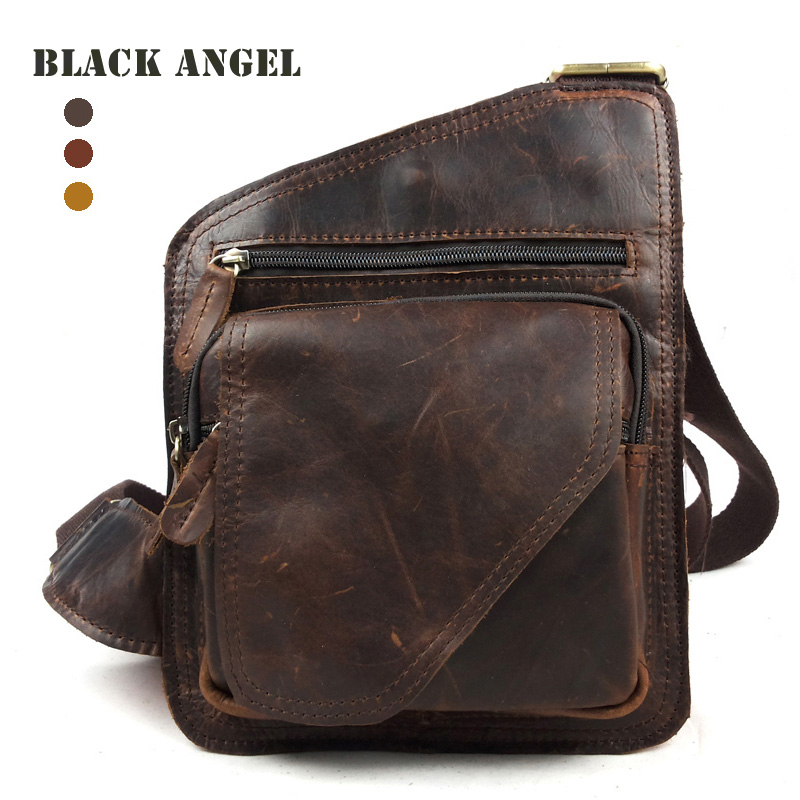 Genuine leather man bag chest pack fashion casual cross-body bag small street fashion first layer of cowhide crazy horse leather(China (Mainland))