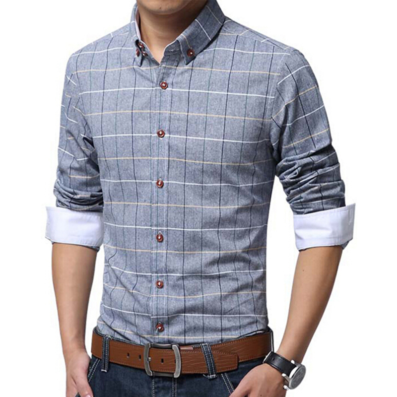 New 2016 spring casual men shirt cotton linen mens dress for Mens casual plaid shirts