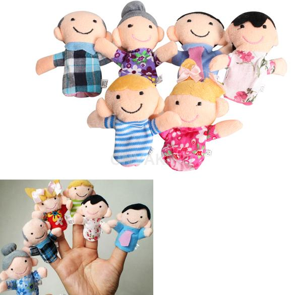 Гаджет  #Cu3 6Pcs Family Finger Puppets Cloth Doll Baby Educational Hand Toy Story Kid None Игрушки и Хобби