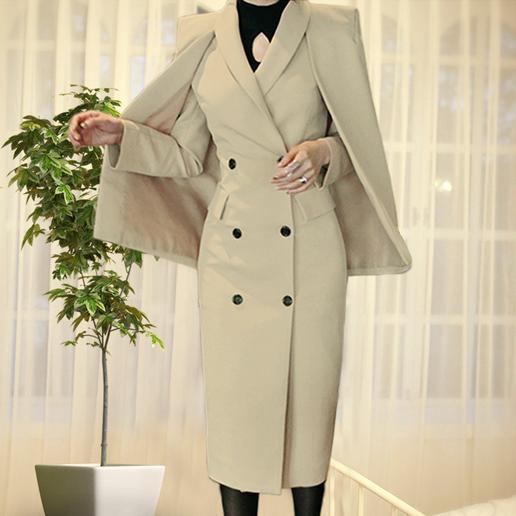 Новое прибытие осень зима женщины длинные шерстяные пальто мода марка две куртки платок мыса пальто пульс размер xxxl