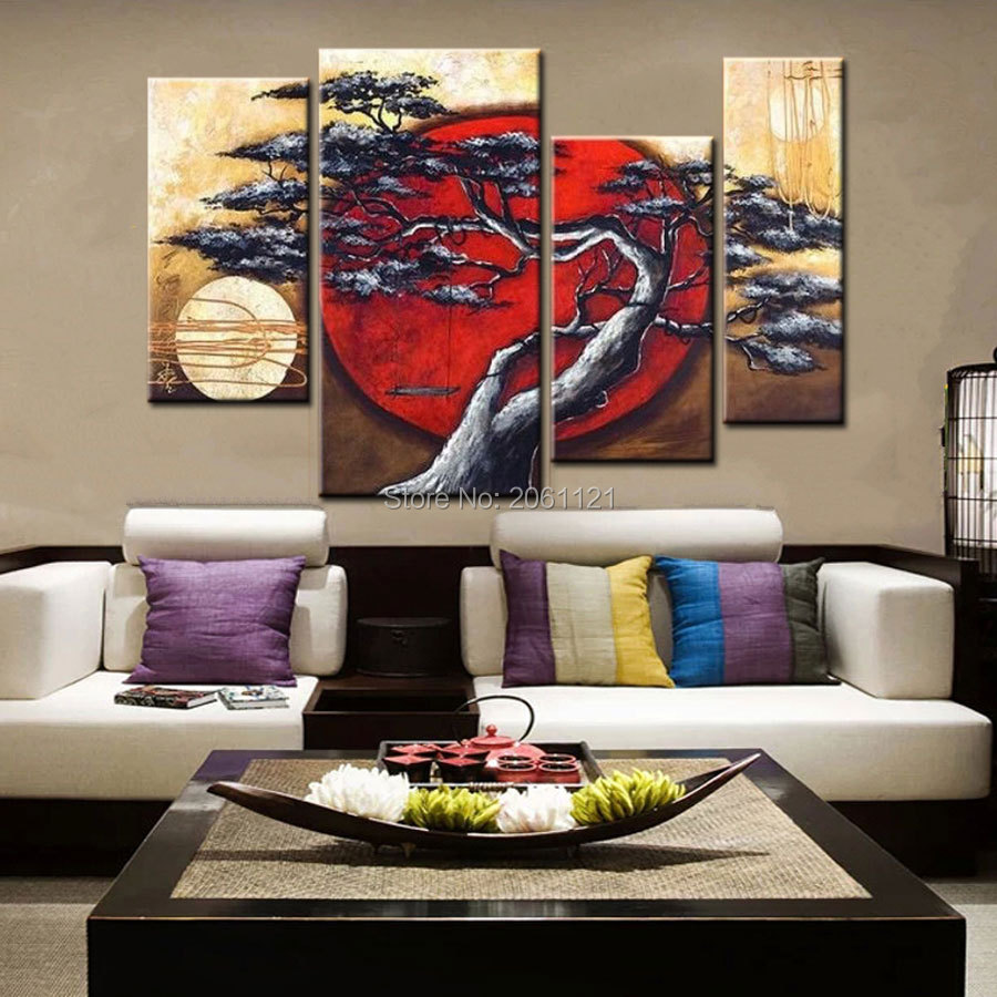 Hand painted group canvas oil painting japanese style for Home decoration pieces