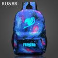RU BR Fairy Tail Backpack Cartoon Travel Bag Japan Anime Printing School Bag for Teenagers Nylon