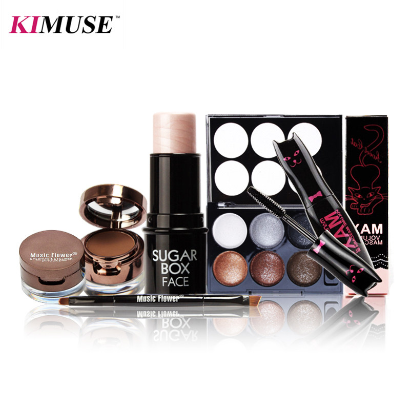 KIMUSE 4PCS Classic Makeup All in One Makeup Kit Cosmetics Including Eyeshadow + Highlighter Stick + Mascara+ Gel Eyeliner