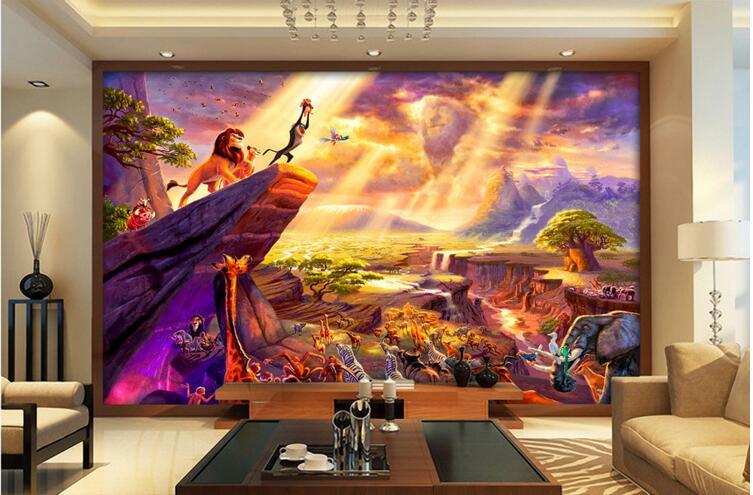 online kaufen gro handel lion king tapete aus china lion king tapete gro h ndler. Black Bedroom Furniture Sets. Home Design Ideas