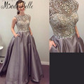 Sparkling Beading Handwork Satin Silver Gray Prom Dress 2016 Sleeveless Long Diamond Sequined Formal Dress Vestidos