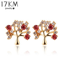 2014 hot New design fashion cute tree color rhinestone Stud earrings Fine jewelry metal For women accessories purple/red M11(China (Mainland))