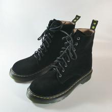 Hakiki Inek Deri Martin Çizmeler Kadın Sonbahar Kış A305 Kadın Kare Düşük Topuklar Ayakkabı Çapraz Kayış Siyah Yuvarlak Ayak yarım çizmeler(China)