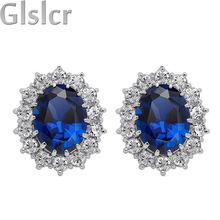 18K Platinum plated brand Royal Blue William Kate Queen wedding Austrian Crystal zircon rhinestones stud Earrings jewelry 8585(China (Mainland))